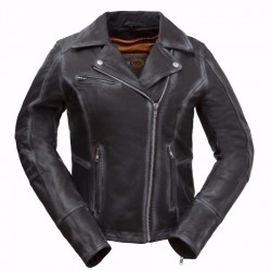 Arcadia Women's Leather Motorcycle Jacket