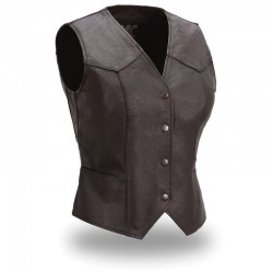 Sweet Sienna Women's Classic Leather Motorcycle Vest