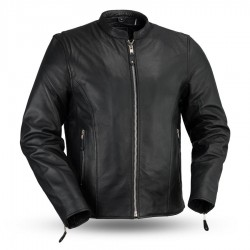 Ace Clean Cafe Style Men's Leather Motorcycle Jacket